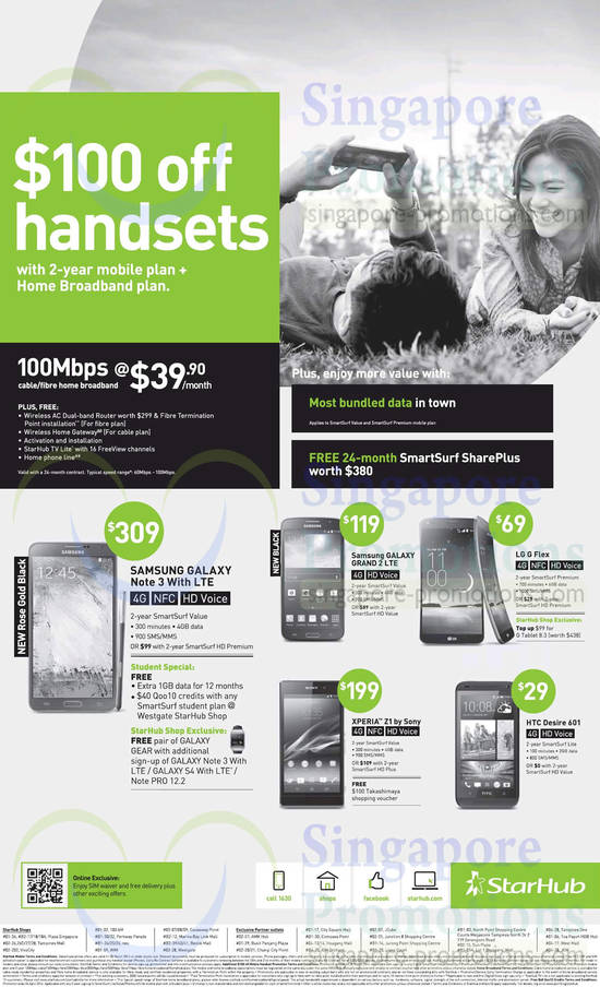Fibre Broadband 100 Dollar Off Handsets with 2yr Mobile Plan, 39.90 100Mbps, Samsung Galaxy Note 3, Samsung Galaxy Grand 2, LG G Flex, HTC Desire 601, Sony Xperial Z1