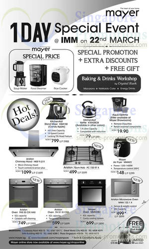 Featured image for Mayer Appliances One Day Offers @ IMM 22 Mar 2014