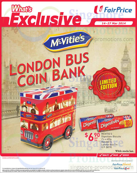 McVities London Bus Coin Bank Banded in Tin