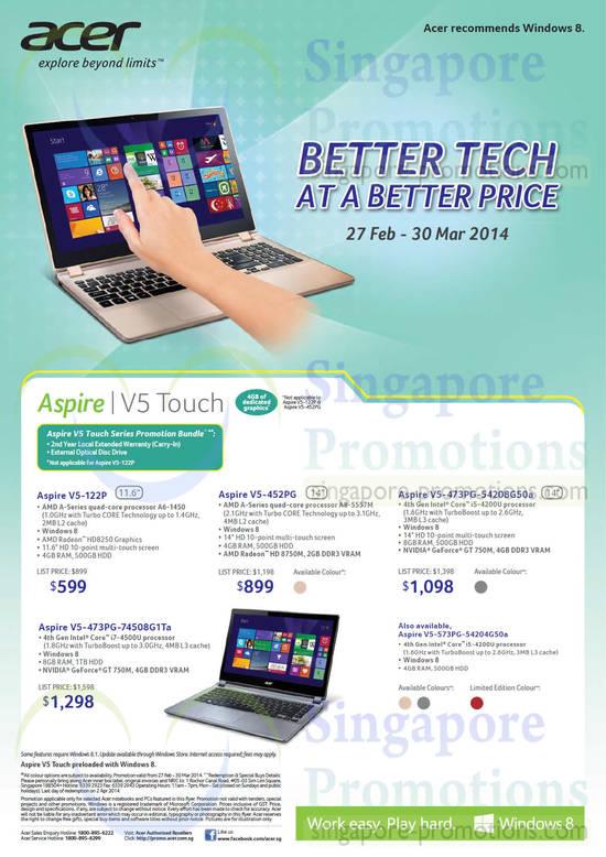 Acer V5-122P Notebook, Acer V5-452PG Notebook, Acer V5-473PG-54208G50A Notebook, Acer V5-473PG-74508G1TA Notebook, Acer V5-573PG-54204G50A Notebook
