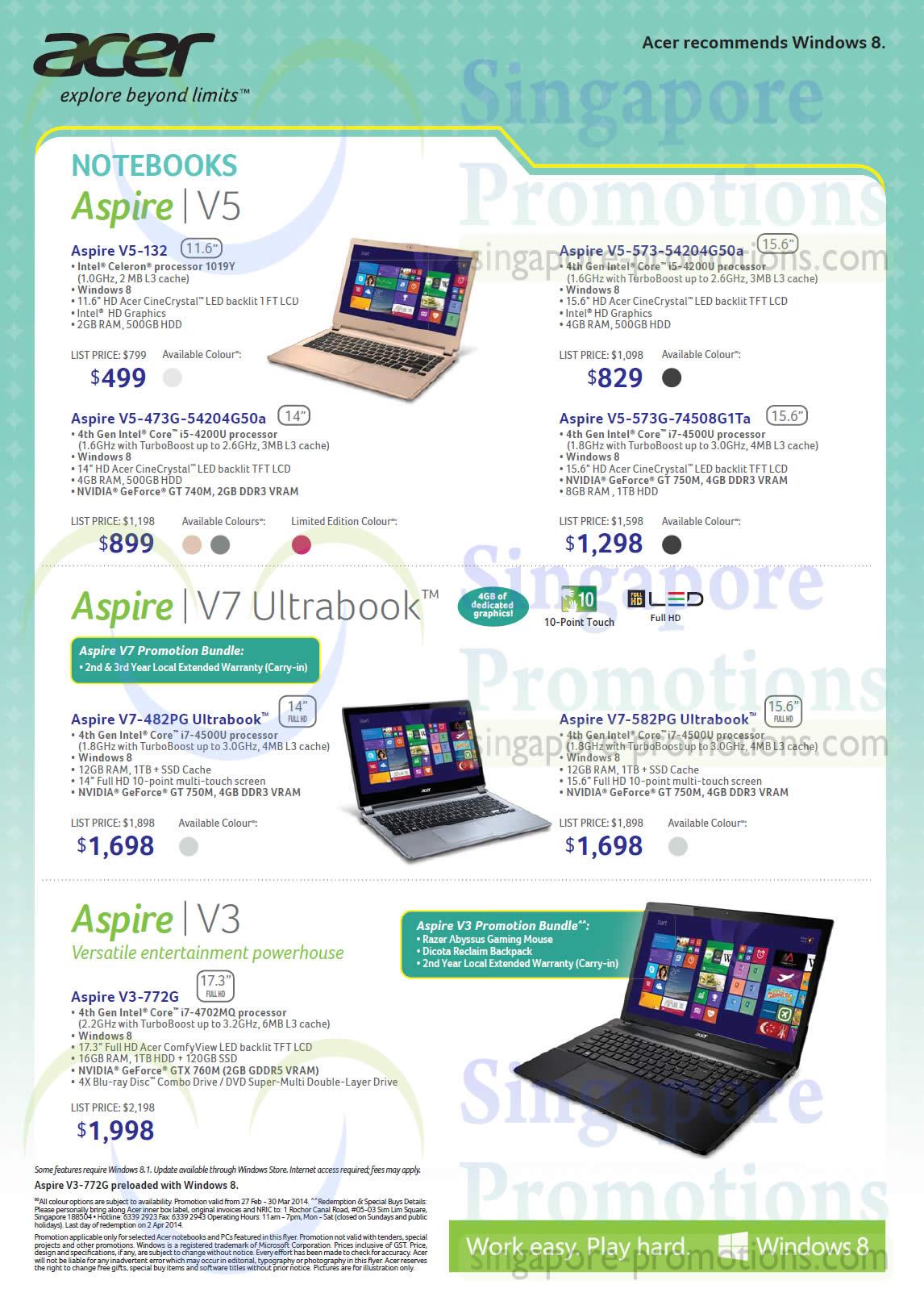 Notebooks Aspire V5 132 V5 573 V5 473G V5 573G V7