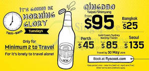 Featured image for Scoot Airlines From $25 Morning Glory One Day Promo 1 Apr 2014