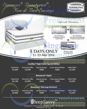 Featured image for SleepSavvy Simmons Mattress Offers @ Enterprise One Building 21 Mar 2014