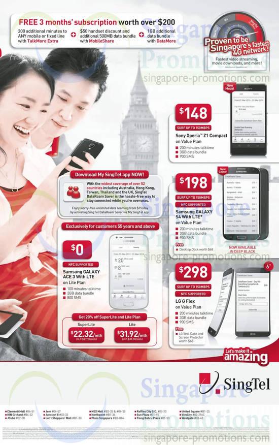 Sony Xperia Z1 Compact, Samsung Galaxy S4, Samsung Galaxy Ace 3, LG G Flex