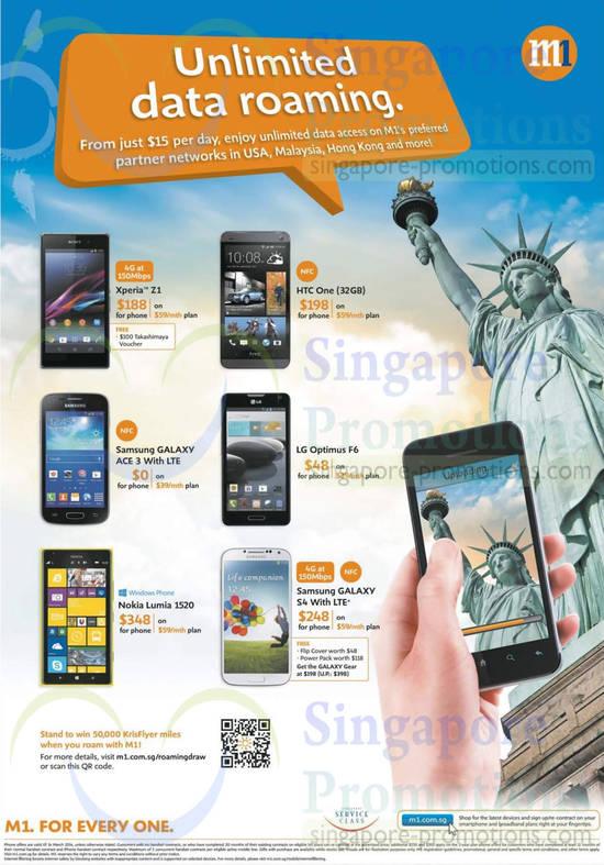Sony Xperia Z1, HTC One, Samsung Galaxy Ace 3, Samsung Galaxy S4, LG Optimus F6, Nokia Lumia 1520