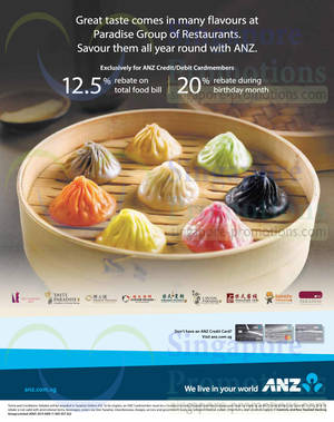 Featured image for Paradise Group of Restaurants 12.5% Rebate For ANZ Cardmembers 4 Apr – 31 Dec 2014