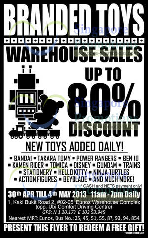 Featured image for Sheng Tai Toys Warehouse SALE Up To 80% Off 30 Apr – 4 May 2014