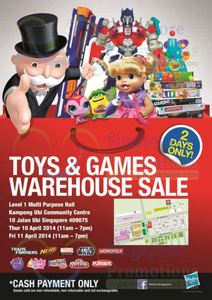Featured image for Hasbro Toys & Games Warehouse SALE @ Kampong Ubi CC 10 – 11 Apr 2014
