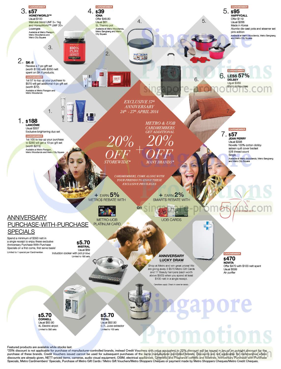Kitchenware, Perfumes, Health Supplements, Honeyworld, Happycall, Jean Perry, Lancome, SK-II, Novita, Cornell, Tefal