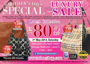 Featured image for Nimeshop Branded Handbags Sale Up To 80% Off @ Mandarin Orchard 3 May 2014