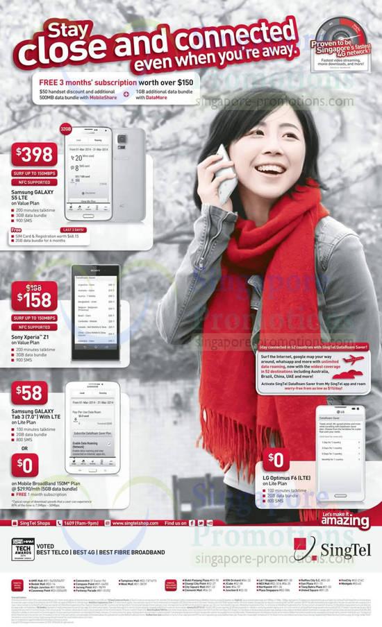 Samsung Galaxy S5, Sony Xperia Z1, Samsung Galaxy Tab 3 7.0, LG Optimus F6