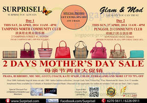 Featured image for Surprisel Branded Handbags Sale Up To 75% Off @ Two Locations 26 – 27 Apr 2014