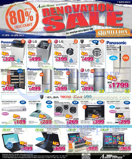 Panasonic NA-F90B3 Washer, LG WFT-9561DD Washer, LG WD-10B7QDT Washer, EF WF-8101A Washer, Valenti VWE1-17G Wine Cellar, Panasonic NR-BW465 Fridge, Panasonic NR-BY552SNSG Fridge, LG GR-M752GSH Fridge, Panasonic NR-F555TX Fridge, Acer V5-473PG Notebook