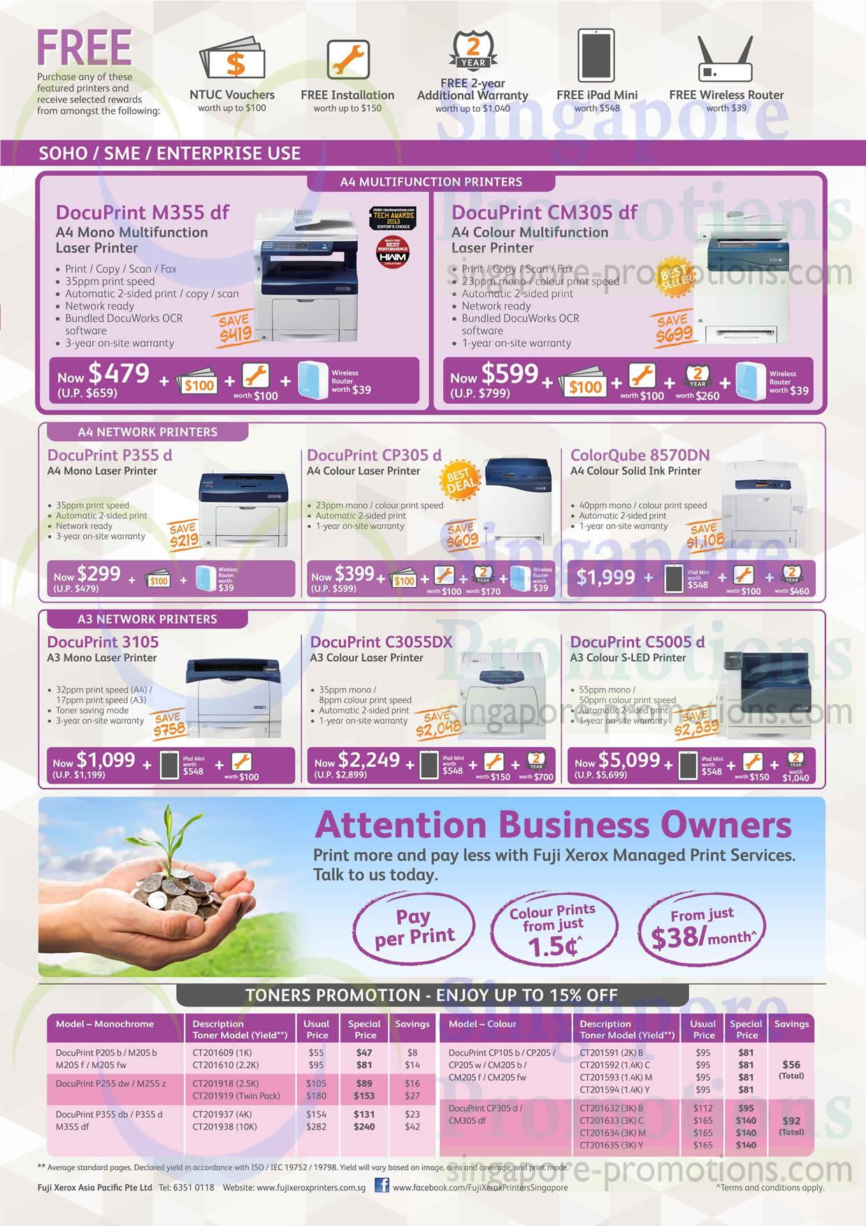29 May Fuji Xerox Printers M355DF, CM305DF, P355D, CP305D