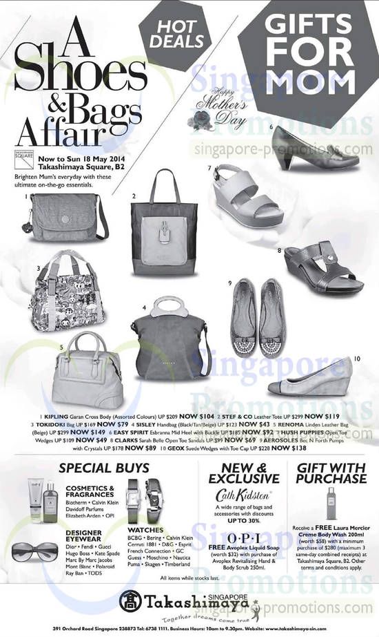 9 May Bags, Totes, Sandals, Special Buys, Gift with Purchase, Designer Eye Wear, Watches