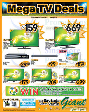 Featured image for Giant Hypermarket Akira TVs & Panasonic Electronics Offers 16 – 29 May 2014