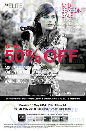 Featured image for F3 Elite Fashion Brands Mid Season SALE 15 May – 8 Jun 2014
