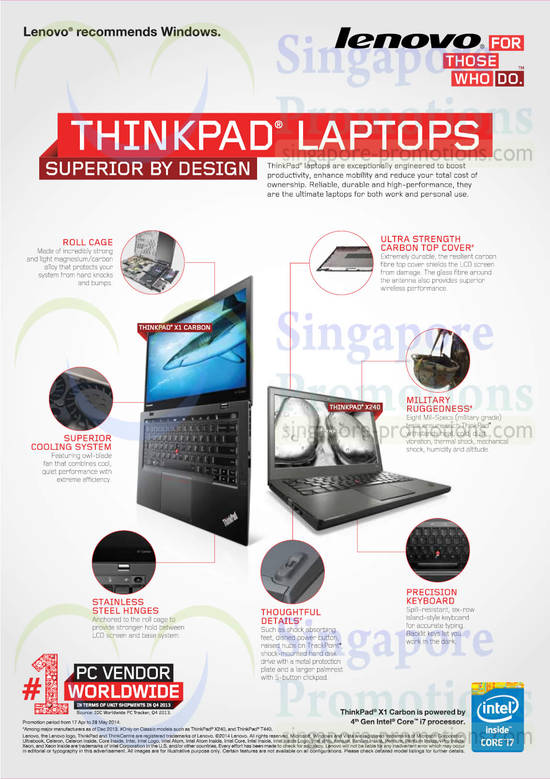 Features of Thinkpad Notebooks