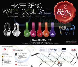 Featured image for Hwee Seng (Beats, Monster, Onkyo, etc) Warehouse SALE 13 – 15 Jun 2014