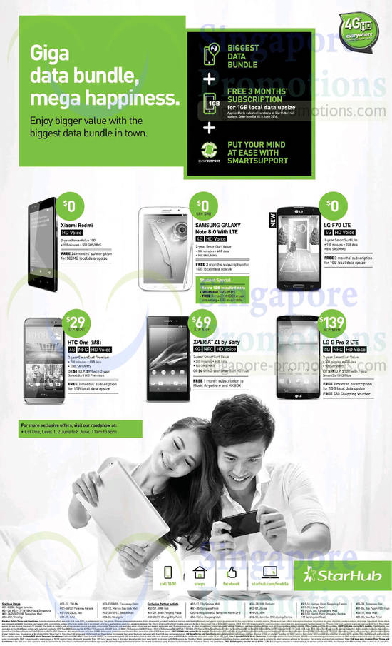 Lot One Roadshow, Xiaomi Redmi, Samsung Galaxy Note 8.0, LG G F70, LG G Pro 2, HTC One M8, Sony Xperia Z1