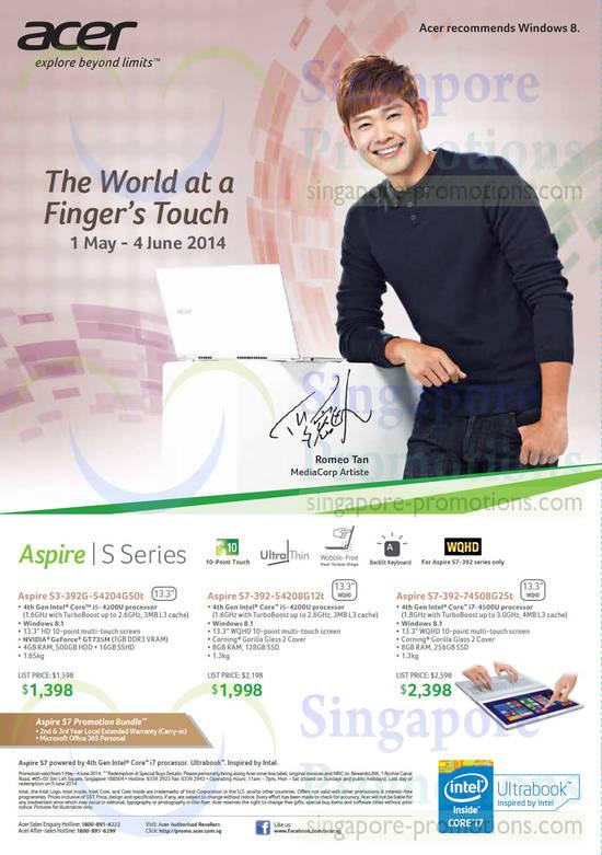 Acer S3-392G-54204G50t Notebook, Acer S7-392-54208G12t Notebook, Acer S7-392-74508G25t Notebook