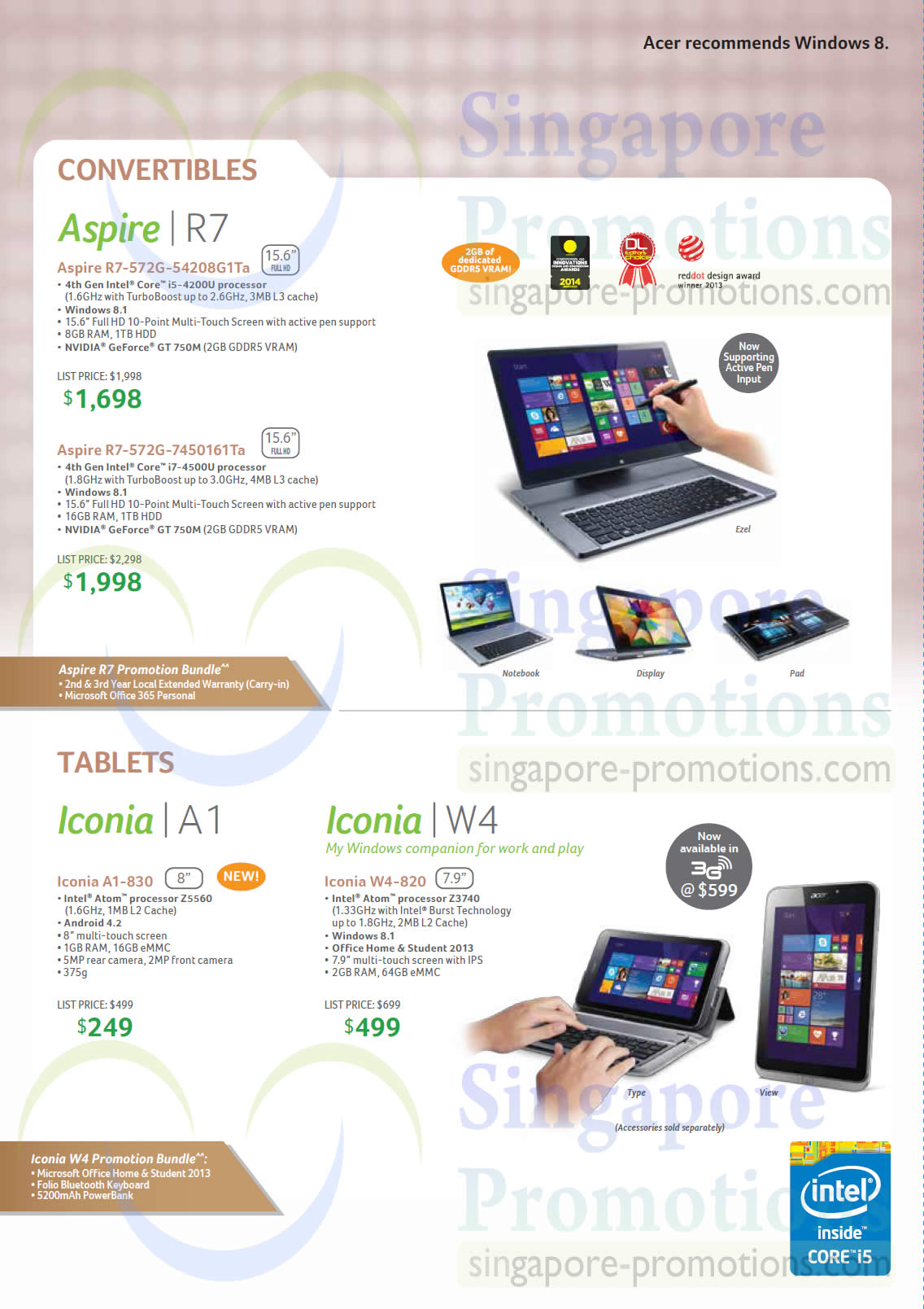 Notebooks Tablets Iconia Aspire Acer Notebooks