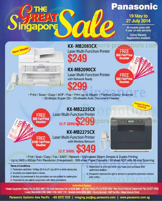 Panasonic KX-MB2085CX Printer, Panasonic KX-MB2090CX Printer, Panasonic KX-MB2235CX Printer, Panasonic KX-MB2275CX Printer