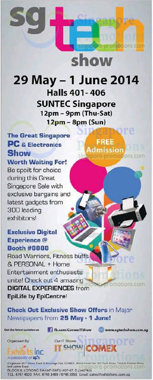 Featured image for SG Tech Show @ Suntec Convention Centre 29 May – 1 Jun 2014