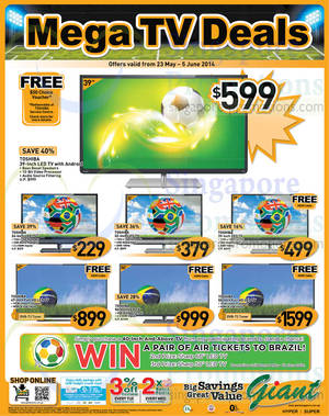 Featured image for Giant Hypermarket TVs, Groceries & Other Offers 23 May – 5 Jun 2014