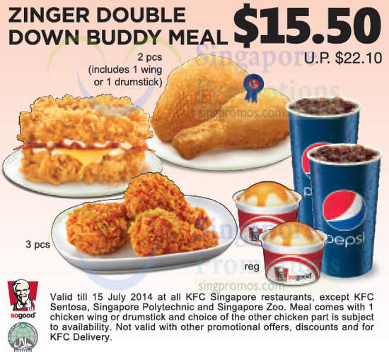 15.50 Zinger Double Down Buddy Meal