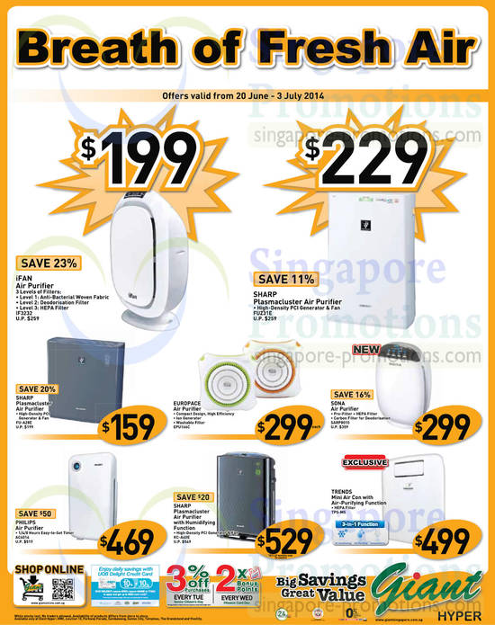 Featured image for Giant Hypermarket Cooling Appliances Offers 20 Jun - 3 Jul 2014
