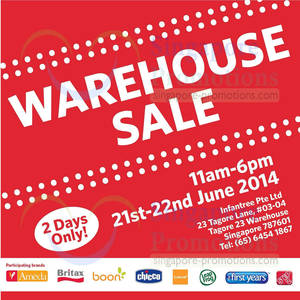 Featured image for Infantree Branded Baby Items Warehouse SALE 21 – 22 Jun 2014