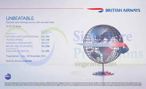Featured image for British Airways Promotion Air Fares 26 – 30 Jun 2014