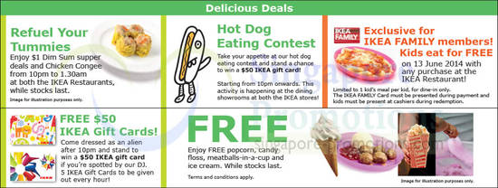 Dining Deals, Free Gift Cards, Eat for Free, Free Popcorn Meatballs Ice Cream