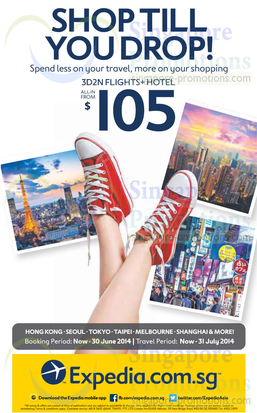 Expedia 3D2N From $105 (All-in, Flights+Hotel) Promo 17 – 30 Jun 2014