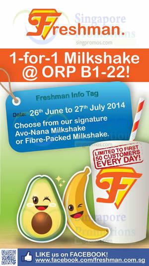 Featured image for Freshman 1 For 1 Fruit Milkshake @ One Raffles Place 26 Jun – 27 Jul 2014