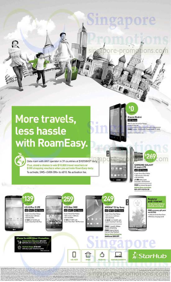 LG G Pro 2, HTC One M8, Xperia Z2, Smasung Galaxy K Zoom, Xiaomi Redmi