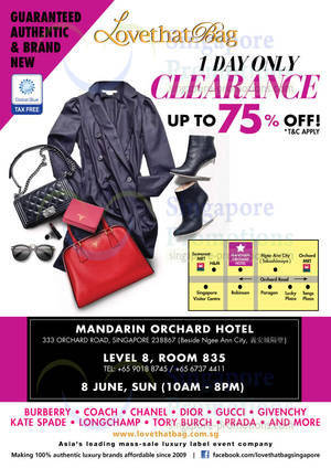 Featured image for LovethatBag Branded Handbags Sale Up To 75% Off @ Mandarin Orchard 8 Jun 2014