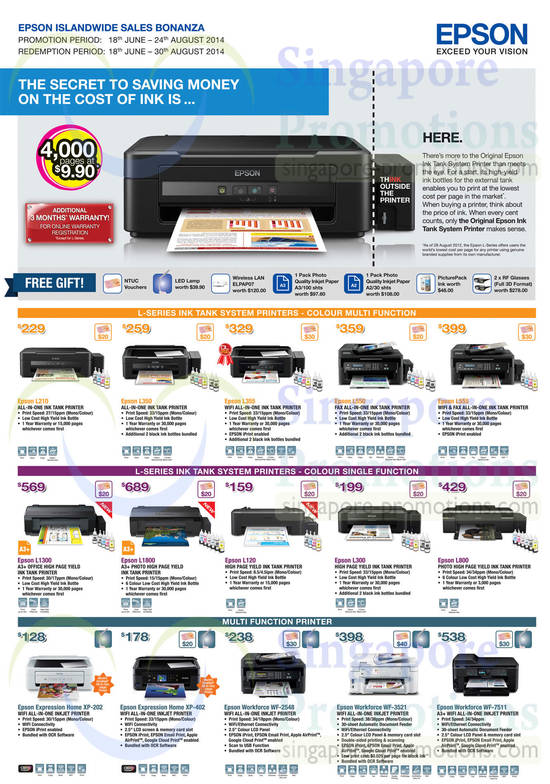 Featured image for Epson Printers, Scanners, Labellers & Projectors Offers 18 Jun - 24 Aug 2014