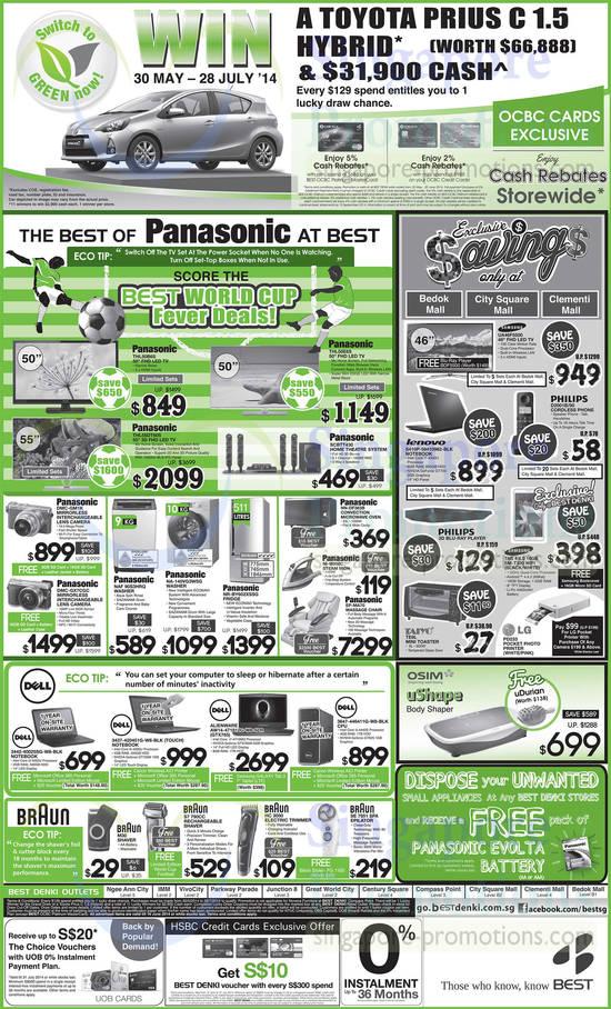 Panasonic Thl50b6s TV, Panasonic Thl55dt60s TV, Panasonic Thl50e6s TV, Panasonic Scbtt430 Home Theatre System, Panasonic Nn-Df383b Microwave Oven, Panasonic Dmc-Gm1k Digital Camera, Panasonic Dmc-Gx7cgc Digital Camera, Panasonic Naf 90s3hrq Washer, Panasonic Na-140vg3wsg Washer, Panasonic Nr-By602xssg Fridge, Panasonic Ni-W950c Steam Iron, Panasonic Ep-Ma70 Massage Chair, Dell 3442-40025sg-W8-Blk Notebook, Dell 3437-420451g-W8-Blk Notebook, Dell Alienware Aw14-471812g-W8-Slr Notebook, Dell 3647-446411g-W8-Blk Desktop PC, Braun Se 7951 Spa Epilator, Braun Hc 3050 Trimmer, Braun S7 790cc Shaver, Braun M30 Shaver, Samsung Ua46f5500 TV, Philips D2001b/90 Cordless Phone, Lenovo S410p-59410962-Blk Notebook, Samsung Tab 4 8.0 16gb Sm-T330 Wifi, Taiyo Te9l Toaster, LG Pd233 Printer and Osim Ushape Body Shaper