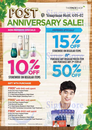 Featured image for The Face Shop Post Anniversary Promo @ Tampines Mall 30 Jun – 6 Jul 2014