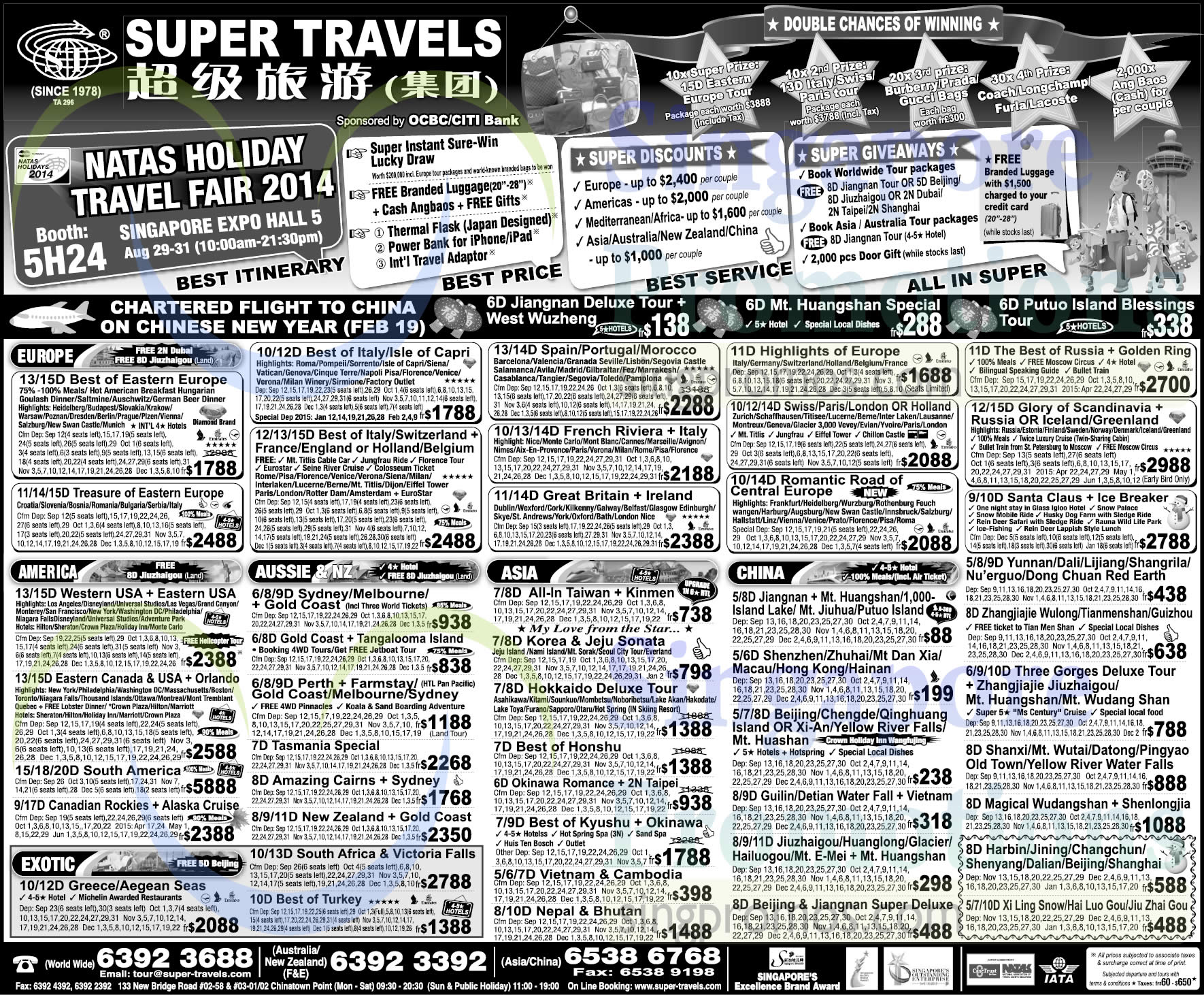 28 Aug Super Travels Europe, America, Exotic, Aussie, Asia, China