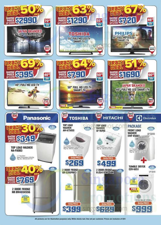 Panasonic NA-F80B3 Washer, Panasonic NR-BW465XSSG Fridge, Toshiba AW-A750SS Washer, Toshiba GR-S20SPB(C) Fridge, Hitachi SF-95PJS Washer, Hitachi R-ZG411EMS GBK Fridge, Electrolux EWF-85661 Washer, Electrolux EDV-6051 Dryer