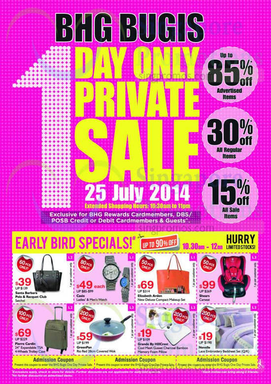 BHG Bugis 1 Day Private Sale, Early Bird Specials, Up To 85 Percent Off