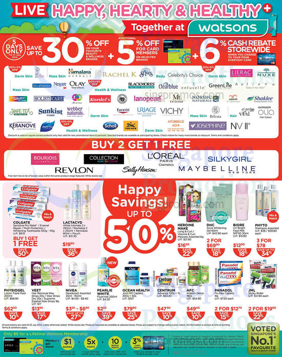 Happy Savings Up To 50 Percent Off, Selected Brands Buy 2 Get 1 Free, DHC, Physiogel, Ocean Health, Loreal, Silkygirl, Revlon