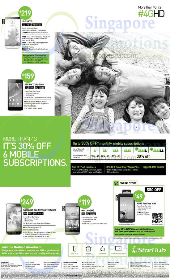 LG G3, Sony Xperia Z2, Samsung Galaxy S5, HTC One M8, Asus Padfone Mini, 30 Percent Off 6 Mobile Subscriptions