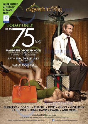 Featured image for LovethatBag Branded Handbags Sale Up To 75% Off @ Mandarin Orchard 26 – 27 Jul 2014