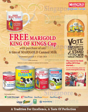Featured image for Marigold Buy 6 Tins Canned Milk & Get FREE King of Kings Cup 4 – 17 Jul 2014