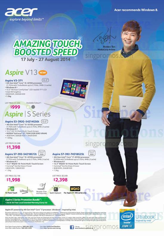 Acer Aspire V3-371 Notebook, Acer Aspire S3-392G-54214G50t Notebook, Acer Aspire S7-392-54218G12t Notebook, Acer Aspire S7-392-74518G25t Notebook
