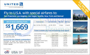 Featured image for United Airlines USA Promo Air Fares 18 – 28 Jul 2014